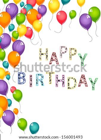 Happy birthday card - vector - stock vector