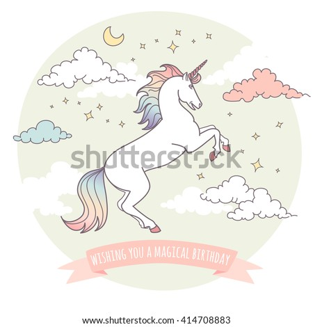 Happy birthday card with a unicorn, stars and clouds. Wishing you a magical birthday!  - stock vector