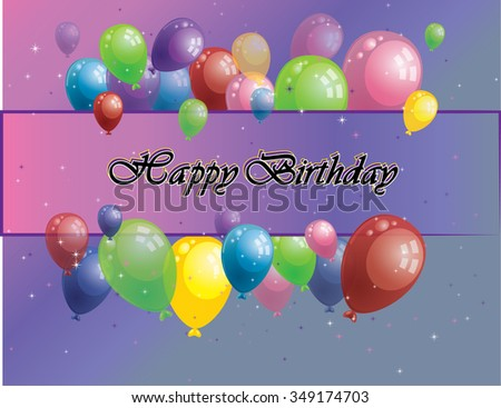 Happy birthday card with balloons and stars - stock vector
