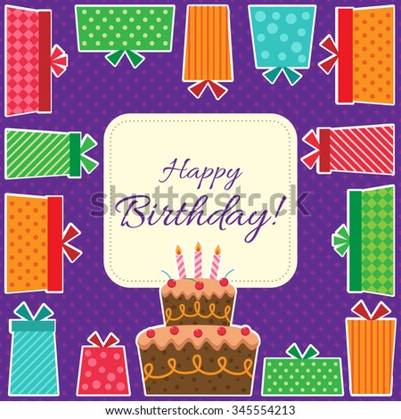 Happy Birthday card with cake and presents - stock vector