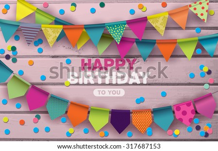 Happy Birthday card with colorful paper garlands and confetti on pink wooden background. - stock vector