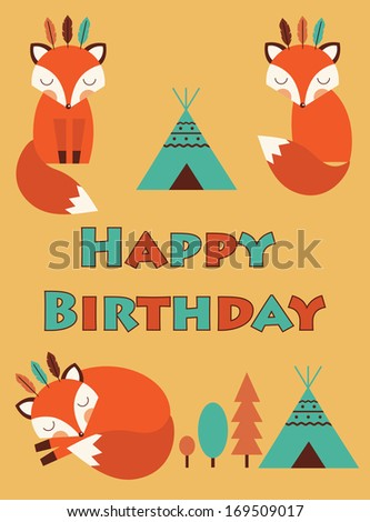 happy birthday card with cute fox. vector illustration - stock vector
