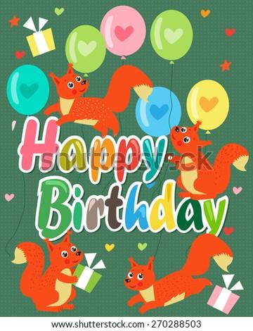 Happy Birthday card with cute squirrel. Vector illustration. - stock vector
