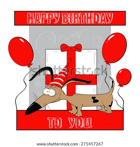 Happy Birthday Card with Funny Cartoon Dog - stock vector