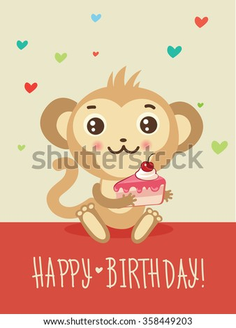 Happy Birthday Card With Funny Monkey And Cake In His Hands. Cute ...
