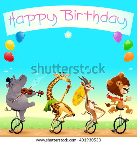 Happy Birthday card with funny wild animals on unicycles  - stock vector