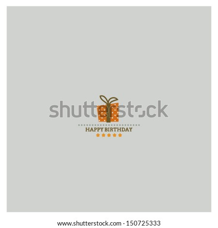 Happy Birthday card with holiday polka dot gift box  - stock vector