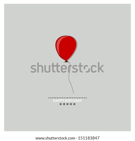 Happy Birthday card with holiday red balloon on gray background - stock vector