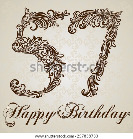 Happy birthday card with number  fifty seven . Vector Design Background. Swirl Style Illustration. - stock vector