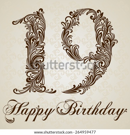 Happy birthday card with number Nineteen. Vector Design Background. Swirl Style Illustration. - stock vector