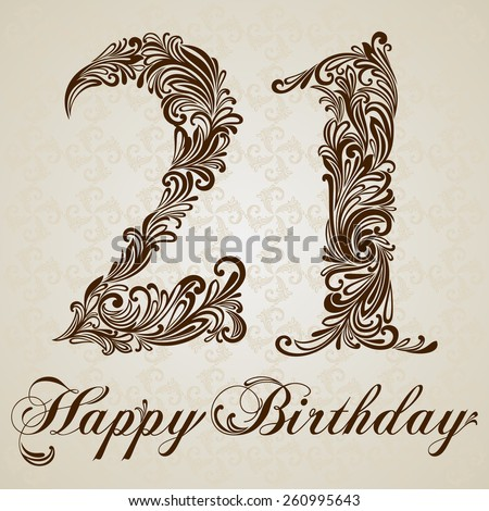 Happy birthday card with number  twenty one. Vector Design Background. Swirl Style Illustration. - stock vector