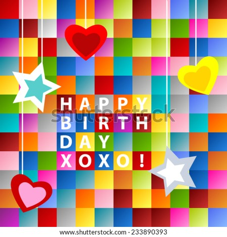 Happy birthday card, with ornament over colorful squares background - stock vector