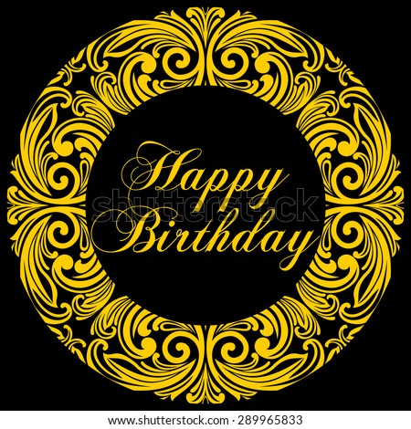 Happy birthday card with round. Vector Illustration - stock vector