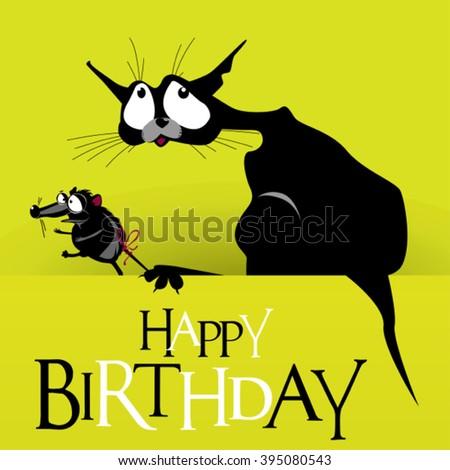Happy Birthday cat mouse smile - stock vector