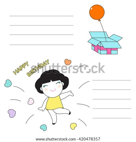 Happy Birthday Character Paper Note illustration 2 - stock vector