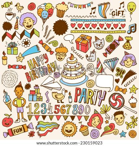 Happy birthday color doodle set 1. Hand drawn vector illustration. - stock vector