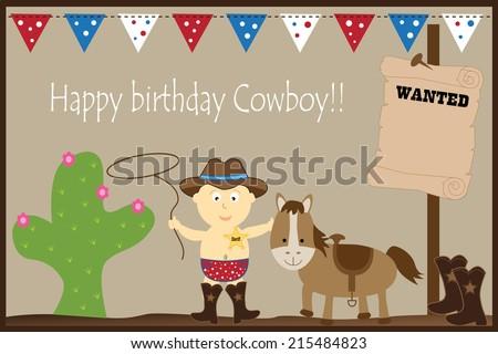 Happy Birthday Cowboy - stock vector