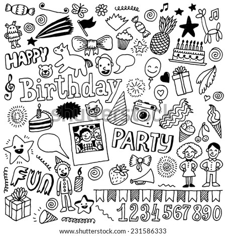 Happy birthday doodle set 2. Hand drawn vector illustration. - stock vector