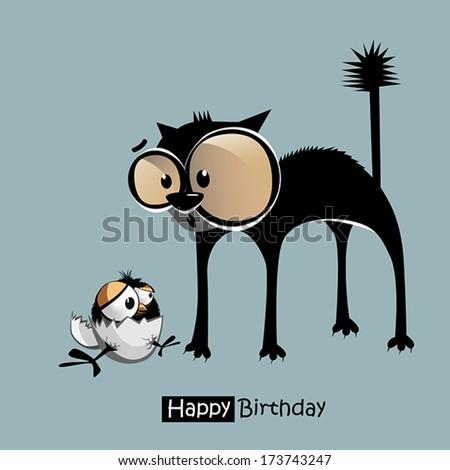 Happy Birthday funny bird cat smile - stock vector