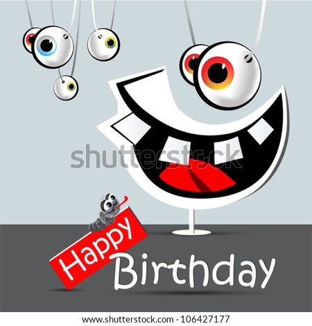 happy birthday funny card smile and eyes - stock vector