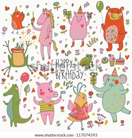 Happy birthday. Funny cartoon vector set with bear, frog, horse, pig, bid, crocodile and elephant - stock vector