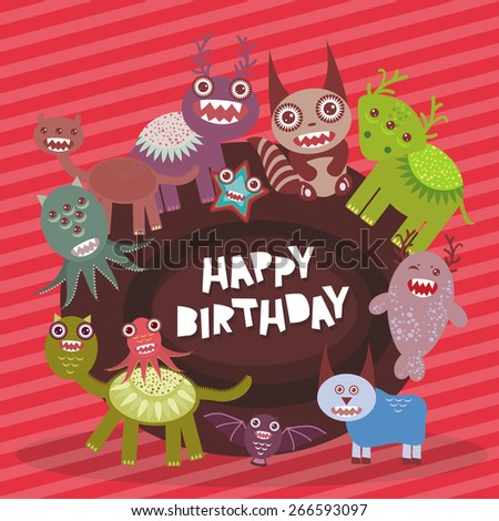Happy birthday Funny monsters party card design on pink striped background. Vector  - stock vector