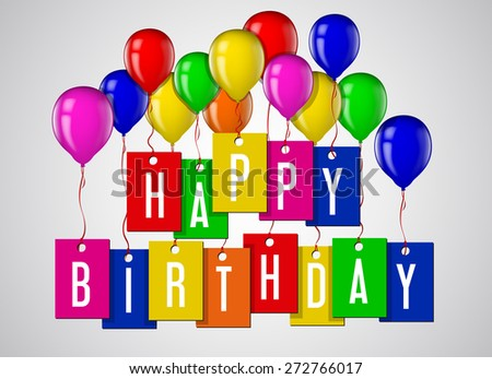 Happy birthday greeting card, poster with letters and balloons.  - stock vector