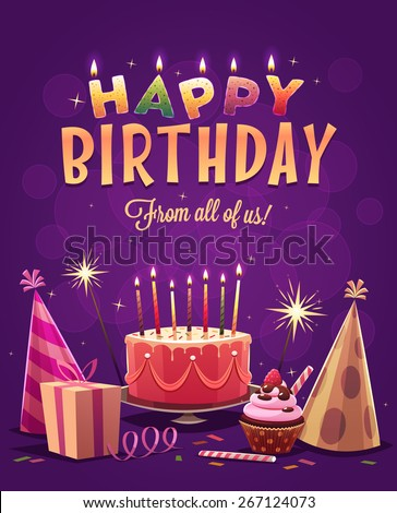 Happy Birthday greeting card. Vector illustration. - stock vector