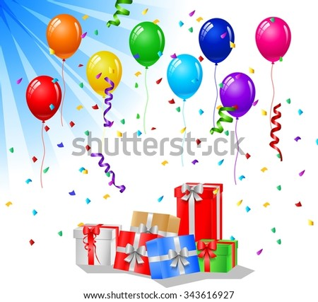 Happy birthday greeting card with cake and balloons - stock vector