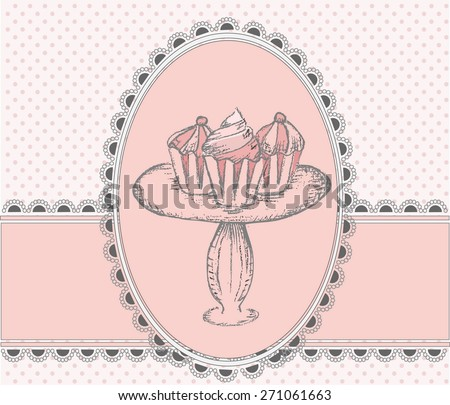 Happy Birthday Greeting card with Cake Pops - stock vector