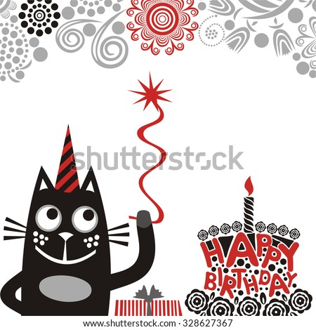 Happy birthday greeting card with cute cat and cake vector illustration - stock vector