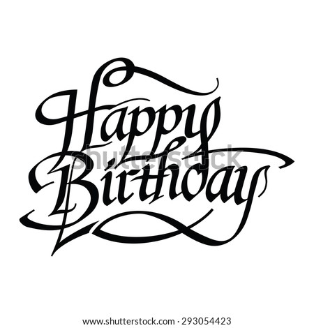 Happy Birthday hand drawn lettering. Congratulation design text. Vector illustration - stock vector