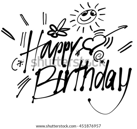Happy Birthday hand lettering greeting card, Vector Typography Design. Usabe for Inatation cars in web or print. - stock vector
