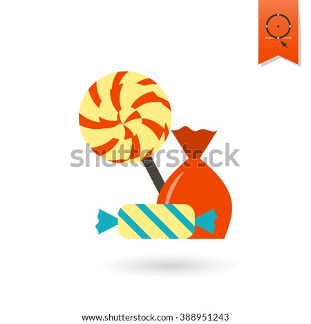 Happy Birthday Icon. Sweet Candy. Simple, Minimalistic and Flat Style. Colorful Vector - stock vector