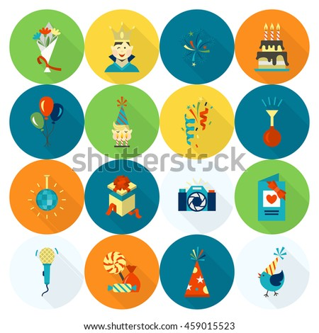 Happy Birthday Icons Set. Simple, Minimalistic and Flat Style. Colorful. Long Shadow. Vector - stock vector