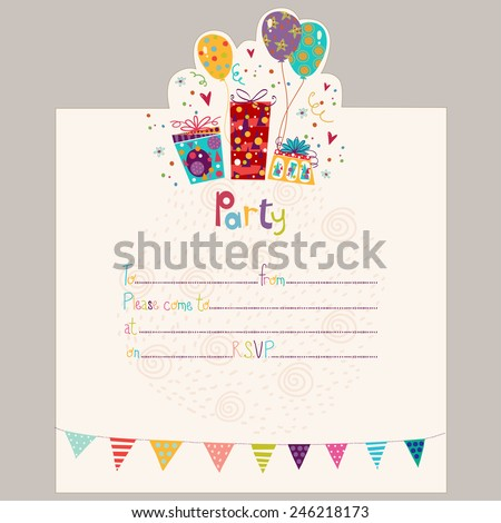 Happy Birthday Invitation.Birthday greeting card with gifts and balloons in bright colors. Sweet cartoon vector.Party invitation. - stock vector