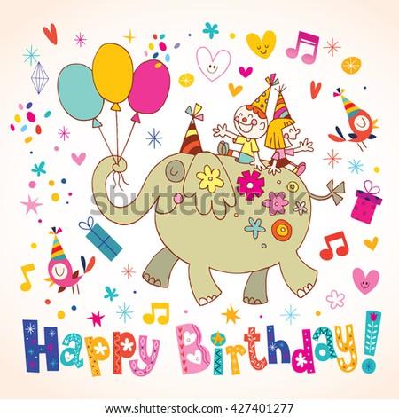 Happy Birthday kids greeting card - stock vector