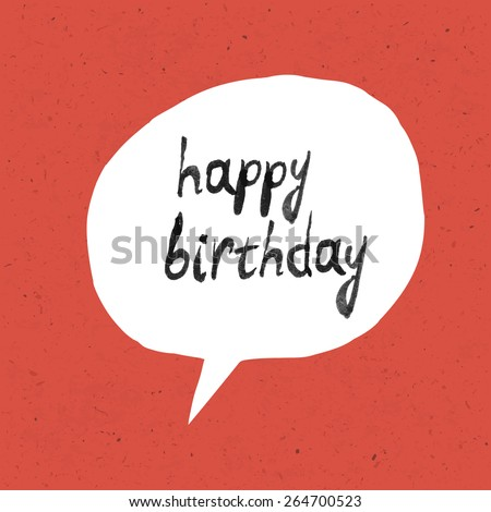Happy Birthday Lettering On Red Paper Texture - stock vector