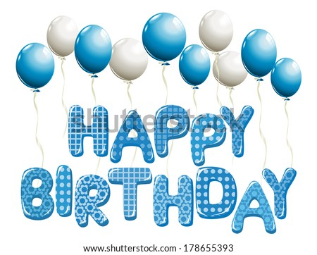 Happy Birthday letters in blue with balloons - stock vector