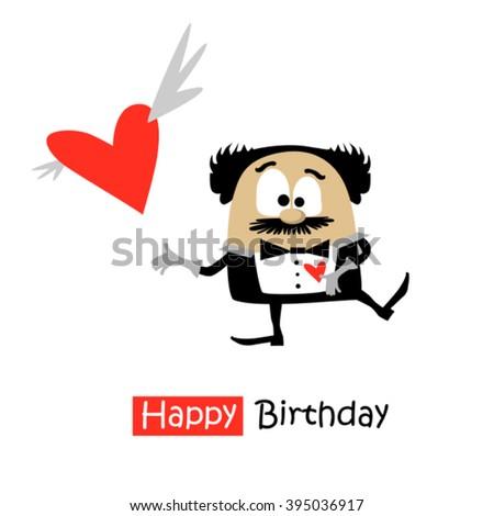 Happy Birthday love card - stock vector