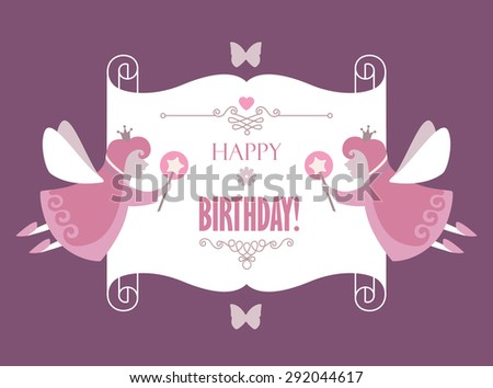 Happy birthday magic card with fairy & scroll. Vintage banner. Vector illustration - stock vector
