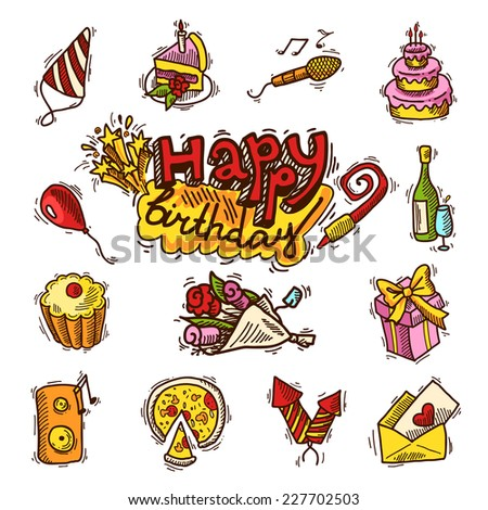 Happy birthday party celebration sketch decorative elements set with cake microphone balloon isolated vector illustration - stock vector