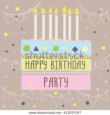 Happy birthday party ,cute card with cake and candles. Vector illustration - stock vector