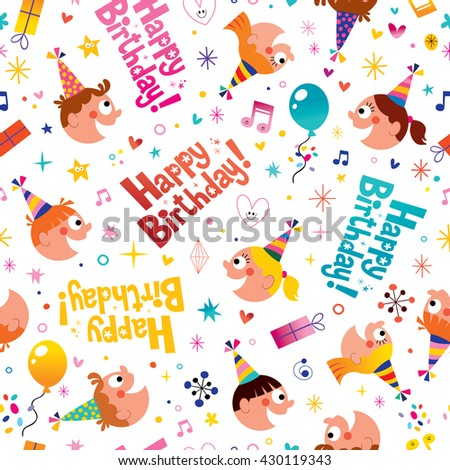 Happy birthday party kids seamless pattern - stock vector