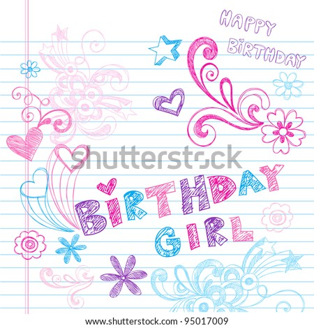 Happy Birthday Party Sketchy Back to School Hand-Drawn Notebook Doodles Vector Illustration Design Elements on Lined Sketchbook Paper Background - stock vector