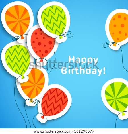 Happy birthday postcard with balloons. Vector illustration for your holiday greeting. Postcard picture in bright red, green, orange and blue color. - stock vector