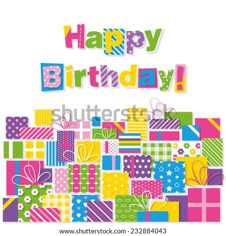 happy birthday presents greeting card - stock vector