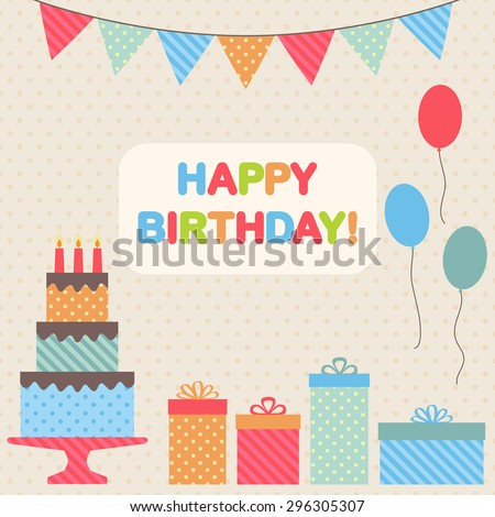 Happy birthday retro card. Vector illustration - stock vector