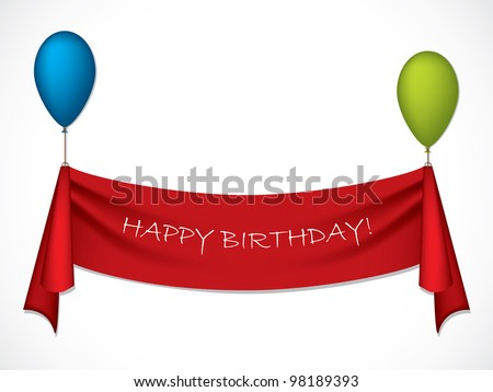 Happy birthday ribbon hanging on balloons - stock vector