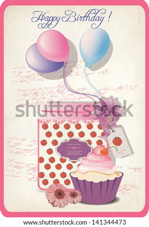 happy birthday romantic retro card - stock vector